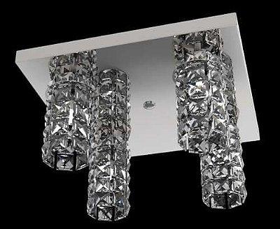 Spot-Plafon Cristal Legítimo 30x30 Luminária Sala Salão Estar Comercial Quarto Pf815/4 New