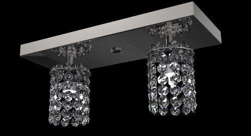 Spot Plafon Cristal Legítimo 30x12 Luminária Sala Salão Estar Comercial Quarto Pf813/2 New