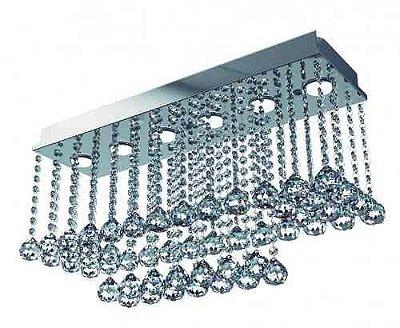 Plafon Retangular Inox Espelhado Cristal Transparente K9 62x20 New Design GU10 Pf-536 Hall e Salas