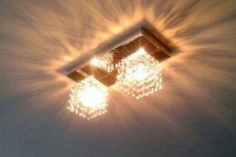 Plafon Inox Cristal Legítimo 30x12 Luminária Sala Salão Estar Comercial Quarto Pf-812/2 New