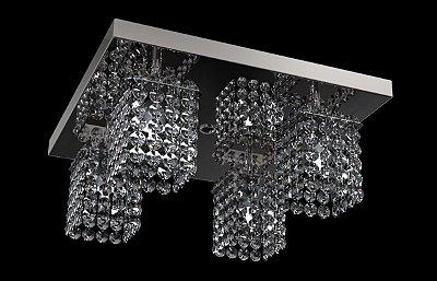Spot Plafon Inox Cristal Legítimo 30x30 Luminária Sala Salão Estar Comercial Quarto Pf-812/4 New