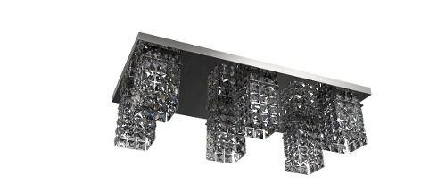Spot Plafon Inox Cristal Legítimo 60x30 Luminária Sala Salão Estar Comercial Quarto Pf814/6 New