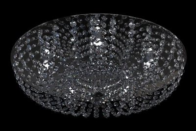 Plafon Redondo Cristal Transparente Inox Espelhado Ø50 New Design G9 952/50 Quartos e Lavabos