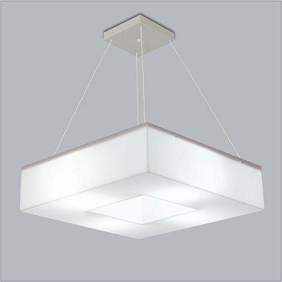 Pendente Quadrado Acrílico Leitoso Branco Central 45x45 Geo Usina Design E-27 10301/45 Cozinhas e Quartos