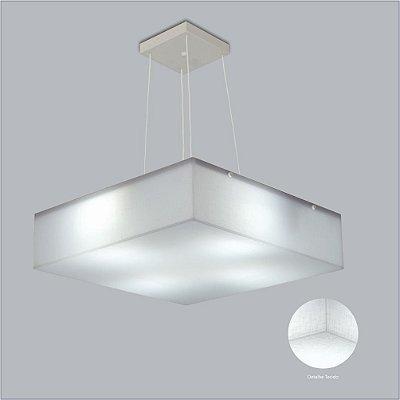 Pendente Quadrado Difusor Tecido Cristal Regulável 4 Lâmpadas 45x45 Polar Usina Design 10401/45 Cozinhas e Quartos