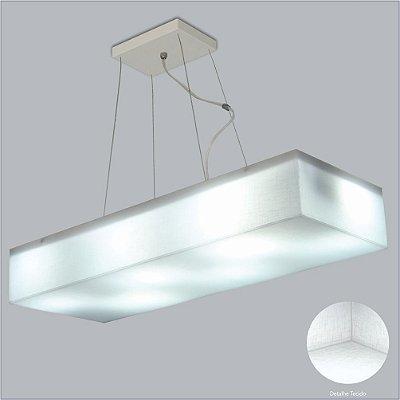 Pendente Retangular Difusor Tecido Cristal Regulável 6 Lâmpadas 28x69 Polar Usina Design E-27 10428/69 Salas e Hall