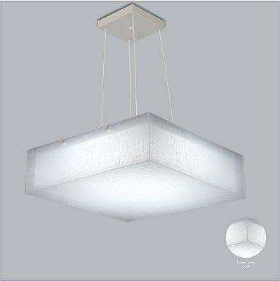 Pendente Quadrado Difusor Tecido Cristal Regulável 6 Lâmpadas 58x58 Cotton Usina Design E-27 10701/58 Cozinhas e Quartos