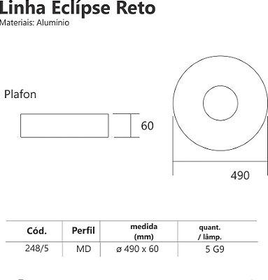 Plafon Redondo Sobrepor Luz Indireta Branco Usual Ø50 Eclipse Usina Design G9 248/5 Quartos e Corredores