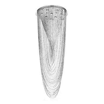 Pendente Cromado Véu Cristal Transparente 7 Lâmpadas Ø60x1,60 InTreviso Luciin Gu10 Lx015 Entradas e Salas