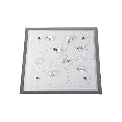 Plafon Quadrado Branco Sobrepor Vidro Jateado Cristal Transparente 42x42 InRomagna Luciin E-27 Kg017 Quartos e Salas