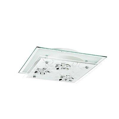 Plafon Quadrado Sobrepor Vidro Jateado Transparente Cristal 42x42 InOrtelle Luciin Kg032 Banheiros e Cozinhas
