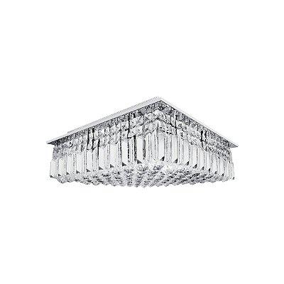 Plafon Sobrepor Quadrado Inox Cristal Transparente 25x25 Più InSalerno Luciin G9 Lx017 Salas e Lavabos