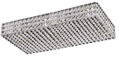 Plafon Retangular Inox Cromado Cristal Transparente 60x30 InCelano Luciin G9 Lx058 Lavabos e Quartos