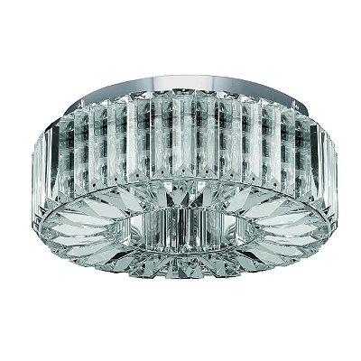 Plafon Sobrepor Redondo Inox Cromado Cristal Transparente Lapidado Ø33 Più Luciin InInglesias G9 Lx084 Hall e Salas