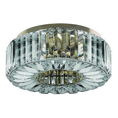 Plafon Sobrepor Redondo Cristal Transparente Ouro Velho Ø33 Più InInglesias Luciin G9 Lx084-11 Salas e Quartos