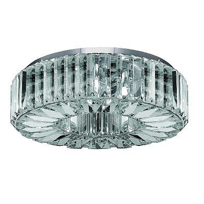 Plafon Redondo Translúcido Cromado Cristal Transparente Lapidado Ø40 Più InInglesias Luciin Lx085 Hall e Salas