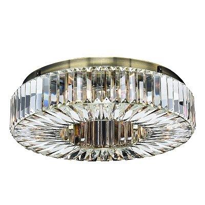 Plafon Redondo Ouro Velho Cristal Lapidado Transparente Ø50 Più InInglesias Luciin G9 Lx086/11 Hall e Salas