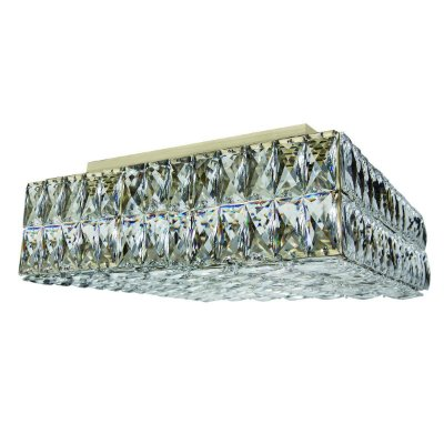 Plafon Sobrepor Quadrado Ouro Velho Cristal Lapidado 40x40 Più InCelano G9 Luciin Lx092/11 Quartos e Salas