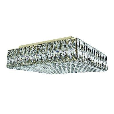 Plafon Sobrepor Quadrado Ouro Velho Cristal Transparente 50x50 Più InCelano Luciin G9 Lx093/11 Lavabos e Corredores