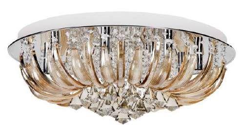Plafon Controle Remoto Ø60 Cristal Champanhe Redondo Sofisticado Sobrepor G9 LED InLaghi Luciin Ts030/2 Salas e Quartos