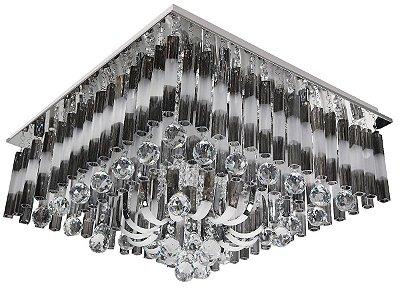 Plafon Controle Remoto Ø60 Quadrado Cristal Transparente e Fosco Sobrepor G9 LED InDegradare Luciin Ts061/l Salas e Quartos