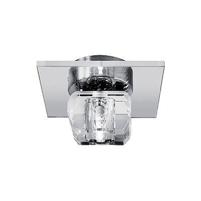 Plafon Quadrado Inox Cromado Sobrepor Cristal Transparente 17x17 Maestro InAncona Luciin Zg059 Banheiros e Quartos