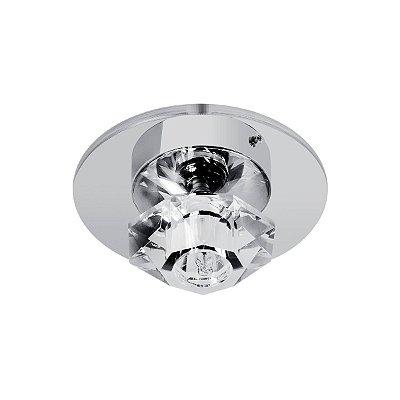 Plafon Redondo Inox Cromado Cristal Transparente Ø19 Maestro InTriesti Luciin G9 Zg061 Banheiros e Quartos