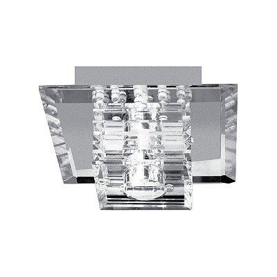 Mini Plafon Quadrado Inox Cromado Cristal Transparente 9x9 Maestro InSpinea Luciin Led Zg096 Quartos e Closets