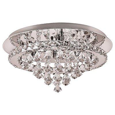Plafon Redondo Inox Espelhado Cristal Transparente Lapidado Ø55 Più InChiaro Luciin Led Zg165 Quartos e Salas