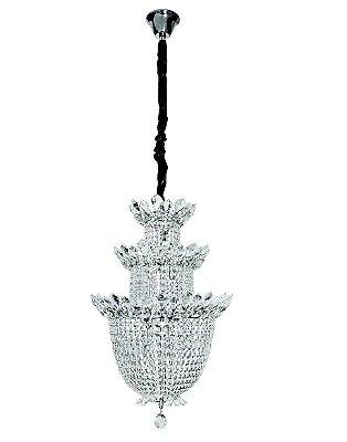 Lustre Imperial Vintage Cromado Cristal 13 Lâmpadas Cabo Regulável 48x70 InBanchetto Luciin G9 Lx074 Salas e Hall