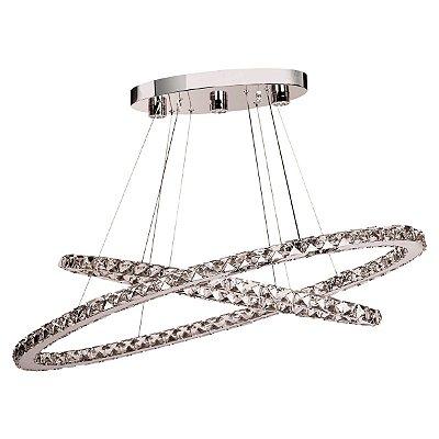 Lustre Design Moderno Aros Cruzado Metal Cromado Cristal Transparente 90x40 InAtomo Luciin Led Zg128 Quartos e Salas