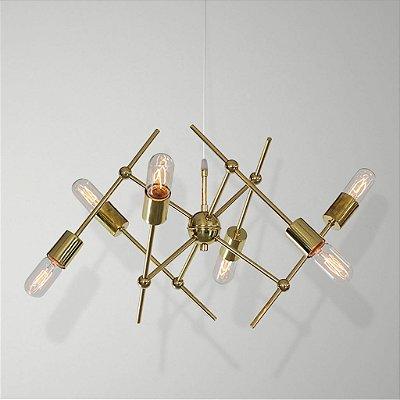 Lustre Design Moderno Dourado 6 Lâmpadas Space Golden Art E-27 Quartos e Salas
