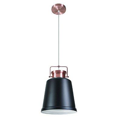Pendente Vertical Redondo Alumínio Preto Cobre Rose Decorativo 26x40 InVanguard Luciin E-27 Hn008/2 Entradas e Salas