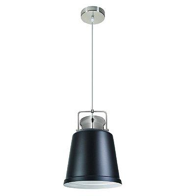 Pendente Vertical Redondo Alumínio Preto Decorativo 26x40 InRaffinato Luciin E-27 Hn009/2 Entradas e Quartos