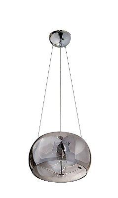 Pendente 1/2 Esfera Cromado Cúpula Vidro Fumê 3 Lâmpadas 110v 40x20 InTulle Luciin E-27 Zg174/1 Entradas e Quartos