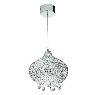 Pendente Cromado Esfera Cristal Alternado Transparente 36x30 InAlveare Luciin Led Zg214 Salas e Hall