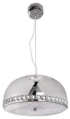 Pendente Cúpula 1/2 Esfera Inox Cromado Cristal Decorativo 25x40 InCadorna Luciin Led Zg240/1 Salas e Hall