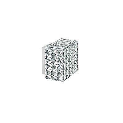 Arandela Interna Quadrada Box Cristal K9 Transparente 12x12 Più Incelano Luciin Lx056 Quartos e Salas