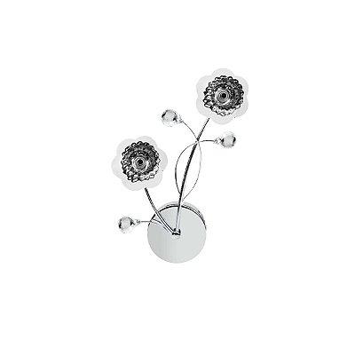 Arandela Interna Alumínio Cromado Floral 10x37 Maestro InFertile Luciin G4 Ts013 Quartos e Salas