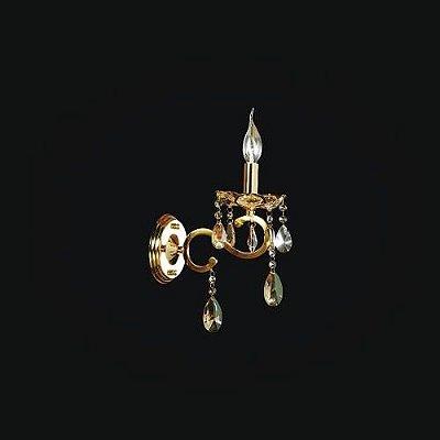 Arandela Clássica 01 Braço Vela Dourada Cristal Champagne Ø30 Chardonne Tupiara E14 2601-DRCH Corredores e Salas