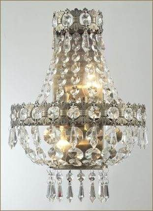 Arandela Interna Metal Ouro Velho Cristais Transparentes Ø24 Imperial Tupiara 4502-OV Hall e Salas