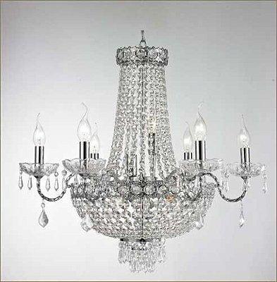 Lustre Imperial Vintage Metal Cromado Cristal Transparente 6 Lâmpadas 65x80 Tupiara E-14 4506-CRCT Entradas e Salas