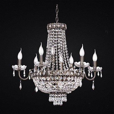 Lustre Imperial Vintage Ouro Velho Cristal Transparente 6 Lâmpadas 80x65 Tupiara E-14 4506-OVCT Salas e Hall
