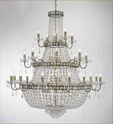 Lustre Imperial Vintage Ouro Velho Cristal Transparente 24 Lâmpadas 1,20x1,15m Tupiara E-14 4524-OVCH Salas e Hall
