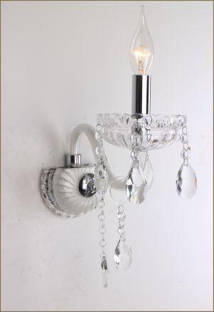 Arandela Clássica 1 Braço Vela Metal Prata Cristal Transparente Ø13 Saint Marie Tupiara E14 7601PRCT Corredores e Salas