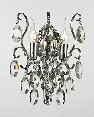 Arandela Clássica 02 Braços Vela Metal Cromado Cristal Transparente Ø26 Bemmel Tupiara E-14 9302-CR Hall e Corredores