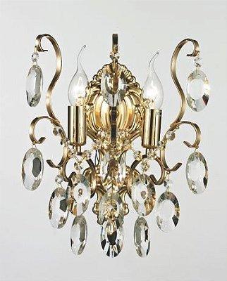 Arandela Clássica 02 Braços Vela Dourada Cristal Transparente Ø26 Bemmel Tupiara E-14 9302-DR Hall e Corredores