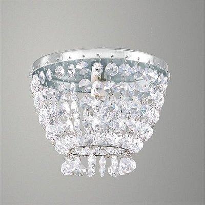 Mini Plafon Redondo em Alumínio e Cristal Asfour Transparente Ø15 Golden Art G9 T280-A Banheiros e Quartos