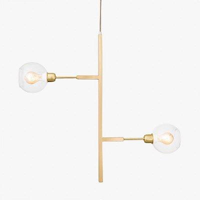 Pendente Golden Art Due Vertical com Cúpula de Vidro - Dourado