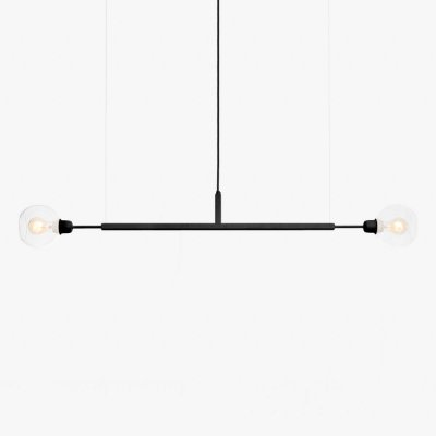 Lustre Golden Art Due G Horizontal Black 1,3mt com Cúpula de Vidro